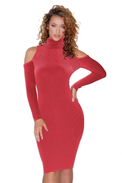 High Collar Cold Shoulder Long Sleeve Textured Sweater Dress Red
