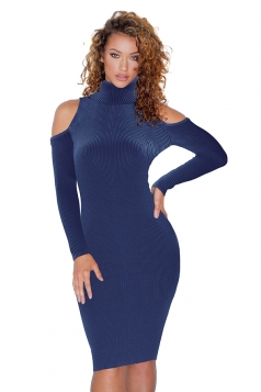 High Collar Cold Shoulder Long Sleeve Textured Sweater Dress Sapphire Blue