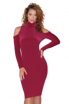 High Collar Cold Shoulder Long Sleeve Textured Sweater Dress Ruby