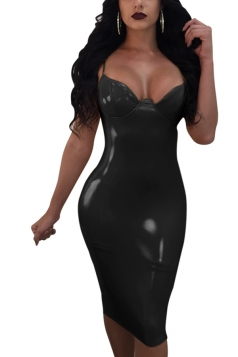 Womens Sexy Spaghetti Straps Zipper Leather Clubwear Dress Black