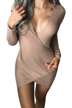 Womens Sexy Deep V-Neck Bandage Plain Bodycon Clubwear Dress Khaki