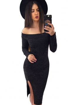 Womens Sexy Off Shoulder Side Slit Bodycon Clubwear Dress Black