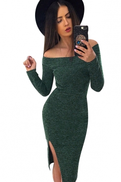 Womens Sexy Off Shoulder Side Slit Bodycon Clubwear Dress Green