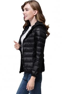 Womens Pocket Hooded Light Short 90% White Duck Down Jackets Black