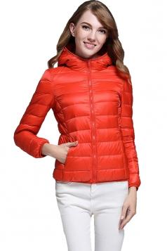 Womens Pocket Hooded Light Short 90% White Duck Down Jackets Orange