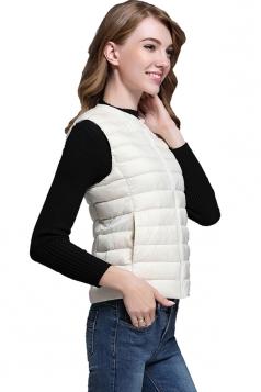 Womens Crew Neck Pocket Light Short 90% White Duck Down Vest White