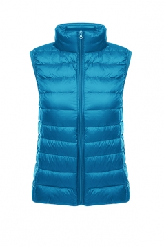 Womens Oversized With Pocket Light 90% White Duck Down Vest Blue