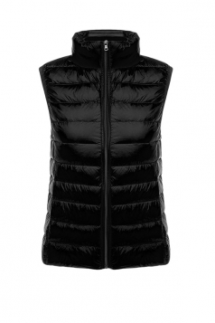 Womens Oversized With Pocket Light 90% White Duck Down Vest Black