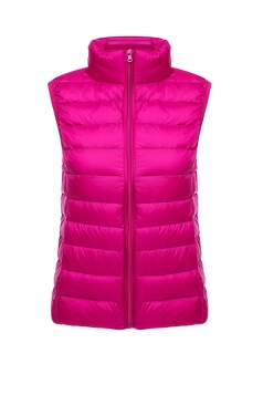 Womens Oversized With Pocket Light 90% White Duck Down Vest Rose Red