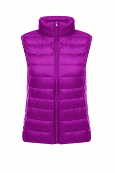 Womens Oversized With Pocket Light 90% White Duck Down Vest Purple