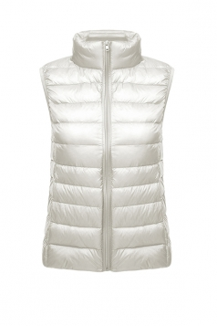 Womens Oversized With Pocket Light 90% White Duck Down Vest White