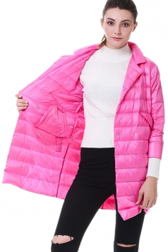 Tailored Medium Style Pocket Button Oversized Down Jacket Rose Red