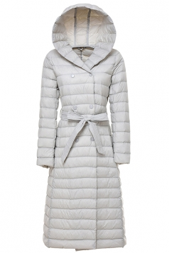 Womens Hooded Waist Tie Button Padded Long Down Jacket Light Gray
