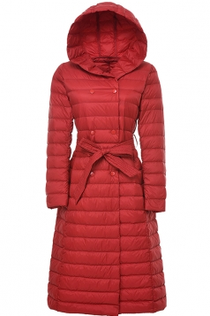Womens Hooded Waist Tie Button Padded Plain Long Down Jacket Red
