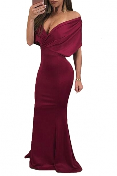 Womens Sexy Off Shoulder Deep V-Neck Close-Fitting Maxi Dress Ruby