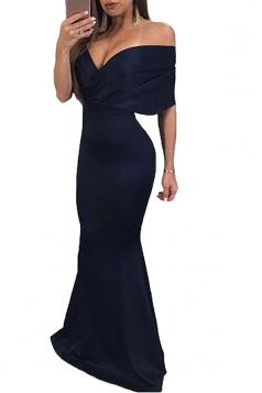 Womens Sexy Off Shoulder V-Neck Close-Fitting Maxi Dress Navy Blue
