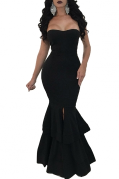 Womens Sexy Off Shoulder Sleeveless Plain Maxi Mermaid Dress Black