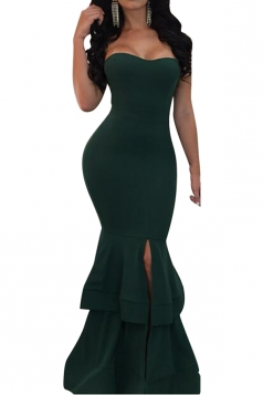 Womens Sexy Off Shoulder Sleeveless Plain Maxi Mermaid Dress Green