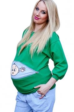 Womens Long Sleeve Cartoon Printed Pregnant Maternity T-Shirt Green