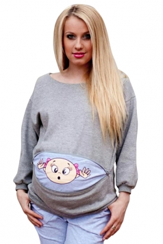 Womens Crew Neck Long Sleeve Oversize Pregnant Maternity T-Shirt Gray