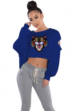 Womens Cut Out Batwing Sleeve Crop Top Tiger Printed Sweatshirt Blue