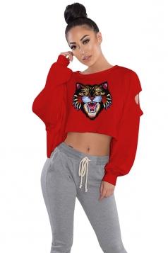Womens Cut Out Batwing Sleeve Crop Top Tiger Printed Sweatshirt Ruby