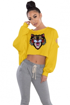 Womens Cut Out Batwing Sleeve Crop Top Tiger Printed Sweatshirt Yellow