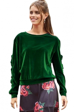 Womens Crew Neck Ruffle Long Sleeve Velvet Plain Sweatshirt Green