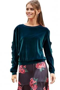 Womens Crew Neck Ruffle Long Sleeve Velvet Plain Sweatshirt Turquoise