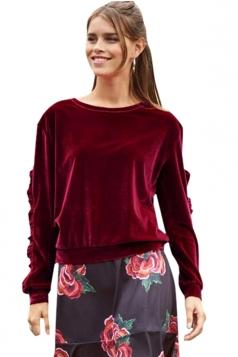 Womens Crew Neck Ruffle Long Sleeve Velvet Plain Sweatshirt Ruby