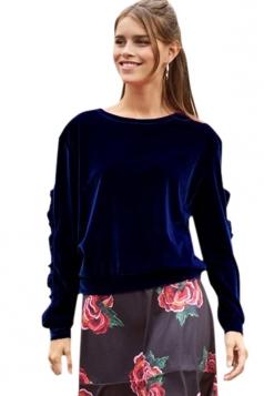 Womens Crew Neck Ruffle Long Sleeve Velvet Plain Sweatshirt Navy Blue
