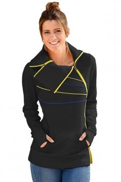 Long Sleeve Turndown Collar Zip And Piping Trim Sweatshirt Black