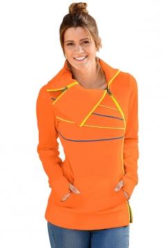 Long Sleeve Turndown Collar Zip And Piping Trim Sweatshirt Orange