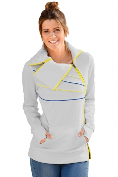 Womens Long Sleeve Turndown Collar Zip And Piping Trim Sweatshirt Gray