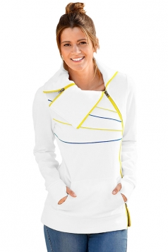 Long Sleeve Turndown Collar Zip And Piping Trim Sweatshirt White