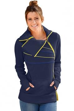Long Sleeve Turndown Collar Zip And Piping Trim Sweatshirt Navy Blue