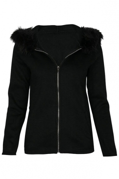 Long Sleeve Slant Pocket Zipper Fur Hooded Coat Plain Hoodie Black