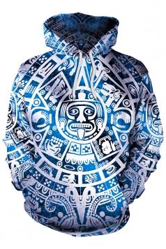 Womens Long Sleeve Kangaroo Pocket Geometric Printed Hoodie Light Blue