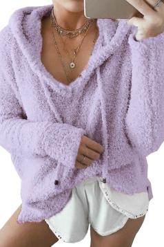 V-Neck Drawstring Long Sleeve Mohair Pullover Plain Hoodie Purple
