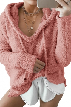 Womens V-Neck Drawstring Long Sleeve Mohair Pullover Plain Hoodie Pink