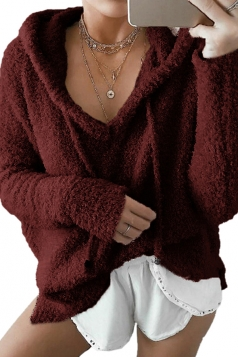 Womens V-Neck Drawstring Long Sleeve Mohair Pullover Plain Hoodie Ruby