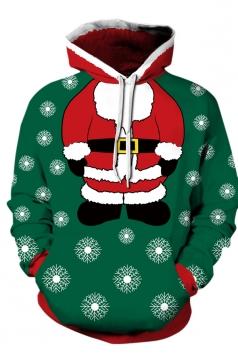 Womens Drawstring Snowman Santa Printed Christmas Hoodie Dark Green