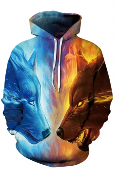 Womens Stylish Drawstring Fire And Ice Wolves Printed Hoodie Gold