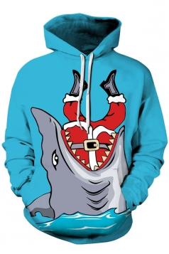 Womens Kangaroo Pocket Santa Shark Printed Christmas Hoodie Light Blue