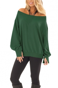 Womens Sexy Off Shoulder Bishop Sleeve Plain Sweatshirt Army Green