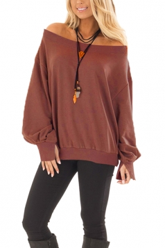 Womens Sexy Off Shoulder Bishop Sleeve Plain Sweatshirt Brown