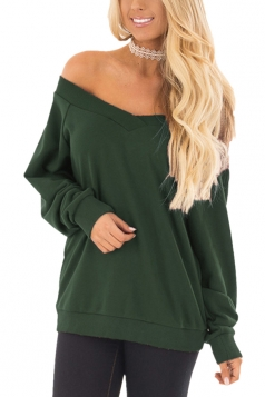 Womens Sexy Off Shoulder V-Neck Strapless Plain Sweatshirt Army Green
