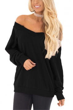 Womens Sexy Off Shoulder V-Neck Strapless Plain Sweatshirt Black