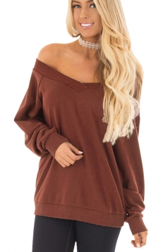 Womens Sexy Off Shoulder V-Neck Strapless Plain Sweatshirt Brown