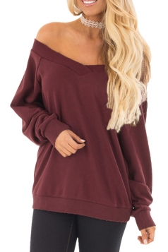 Womens Sexy Off Shoulder V-Neck Strapless Plain Sweatshirt Ruby